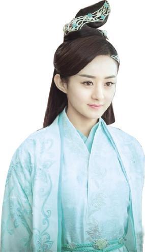 赵丽颖饰演的魔教鬼王宗宗主之女碧瑶,一袭水绿衣衫,凭栏远眺之中双眸